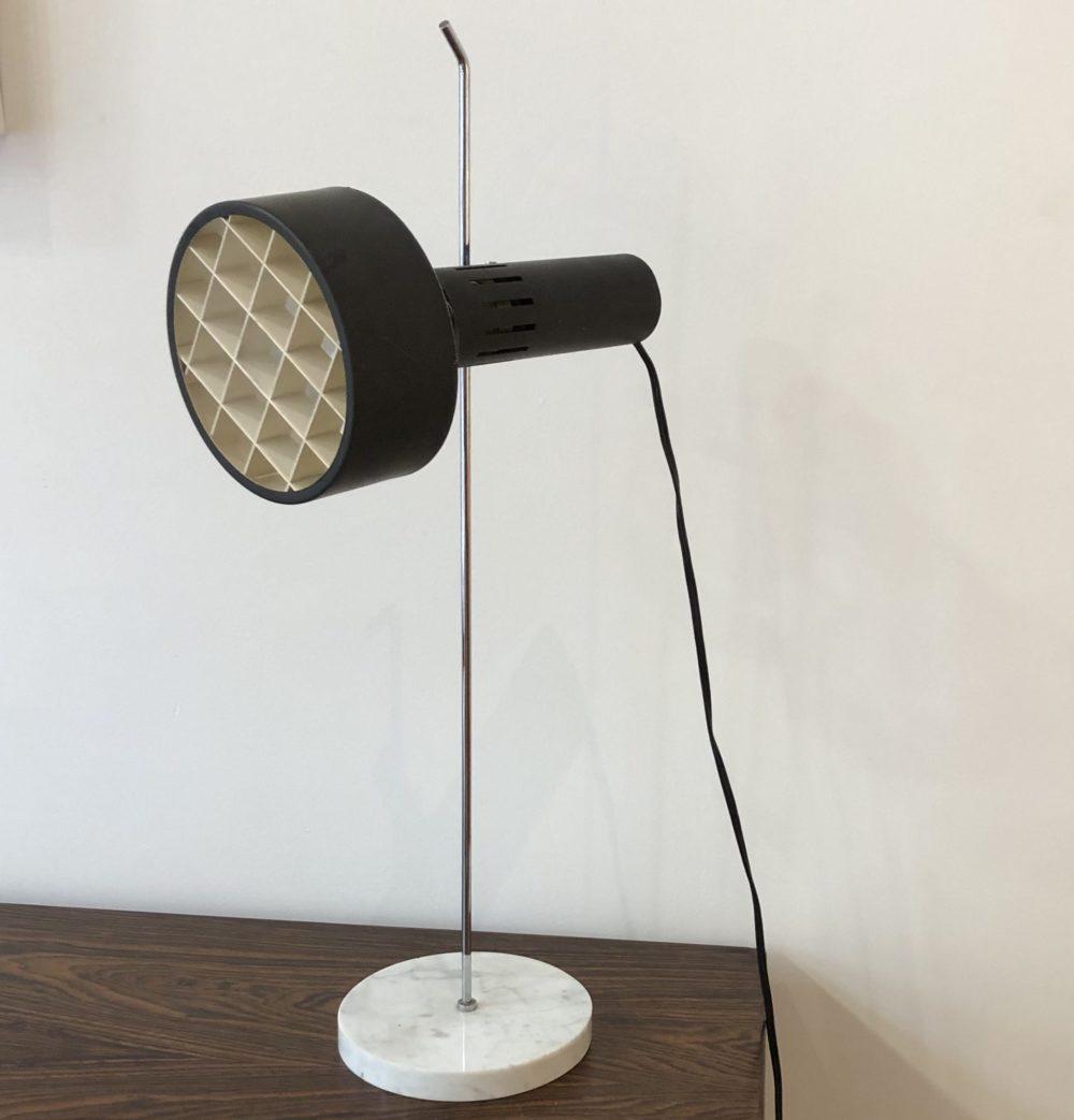 Alain Richard édition Disderot lampe de table A4 base marbre spot noir réflecteur